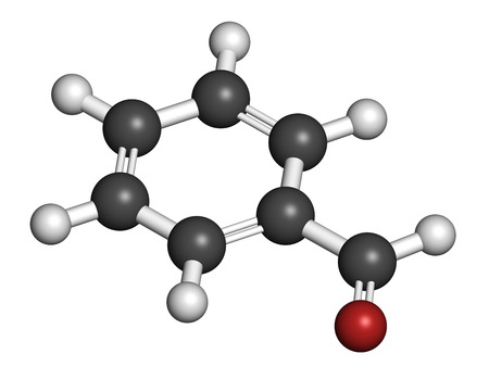 odor: Benzaldehyde bitter almond odor molecule. 3D rendering. Atoms are represented as spheres with conventional color coding: hydrogen (white), carbon (grey), oxygen (red).