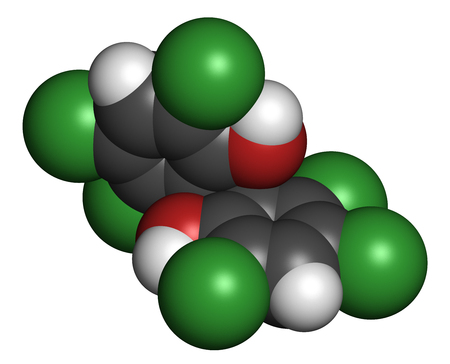 disinfectant: Hexachlorophene disinfectant molecule. 3D rendering. Atoms are represented as spheres with conventional color coding: hydrogen (white), carbon (grey), oxygen (red), chlorine (green). Foto de archivo