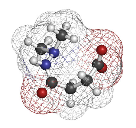 3d nitrogen: Daminozide (Alar) plant growth regulator molecule. Has been banned because of carcinogenicity concerns. 3D rendering. Atoms are represented as spheres with conventional color coding: hydrogen (white), carbon (grey), oxygen (red), nitrogen (blue).