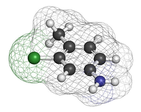 3d nitrogen: Starlicide avicide molecule (gull toxicant). 3D rendering. Atoms are represented as spheres with conventional color coding: hydrogen (white), carbon (grey), nitrogen (blue), chlorine (green).