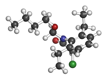 nitrogen: Butachlor herbicide molecule. 3D rendering. Atoms are represented as spheres with conventional color coding: hydrogen (white), carbon (grey), oxygen (red), nitrogen (blue), chlorine (green).