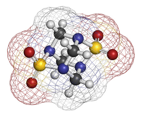3d nitrogen: Tetramethylenedisulfotetramine (TETS) rodenticide molecule. 3D rendering. Atoms are represented as spheres with conventional color coding: hydrogen (white), carbon (grey), nitrogen (blue), oxygen (red), sulfur (yellow).