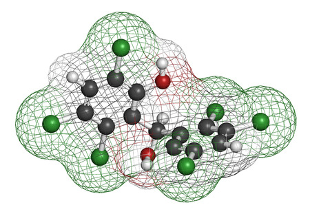 desinfectante: molécula de desinfectante hexaclorofeno. representación 3D. Los átomos se representan como esferas con codificación de colores convencionales: hidrógeno (blanco), carbono (gris), oxígeno (rojo), cloro (verde).
