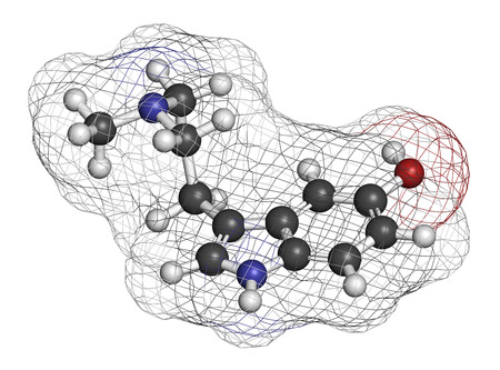 3d carbon: Bufotenin molecule. Tryptamine present in several psychedelic toads. 3D rendering. Atoms are represented as spheres with conventional color coding: hydrogen (white), carbon (grey), oxygen (red), nitrogen (blue).