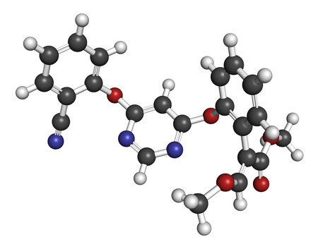 fungicide: Azoxystrobin fungicide molecule. 3D rendering. Atoms are represented as spheres with conventional color coding: hydrogen (white), carbon (grey), nitrogen (blue), oxygen (red).