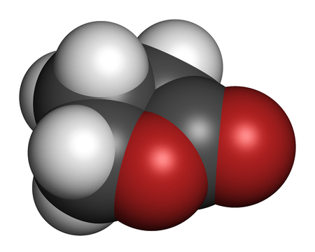 solvent: Gamma-butyrolactone (GBL) solvent molecule. Used as prodrug form of GHB (gamma-hydroxybutyric acid). 3D rendering. Atoms are represented as spheres with conventional color coding: hydrogen (white), carbon (grey), oxygen (red).
