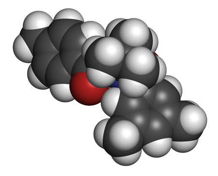 agonist: Tebufenozide insecticide molecule. 3D rendering. Atoms are represented as spheres with conventional color coding: hydrogen (white), carbon (grey), nitrogen (blue), oxygen (red).
