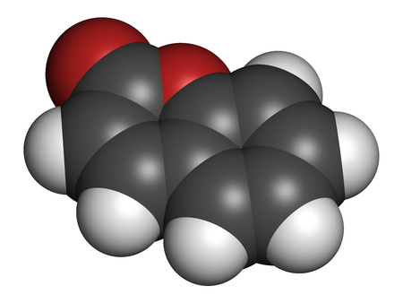 wasserstoff: Coumarin herbal fragrant molecule. Responsible for the scent new-mown hay. 3D rendering. Atoms are represented as spheres with conventional color coding: hydrogen (white), carbon (grey), oxygen (red). Lizenzfreie Bilder