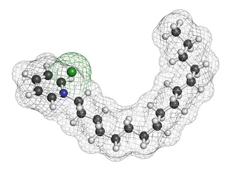 lozenge: Cetylpyridinium chloride antiseptic molecule. 3D rendering. Atoms are represented as spheres with conventional color coding: hydrogen (white), carbon (grey), nitrogen (blue), chlorine (green).