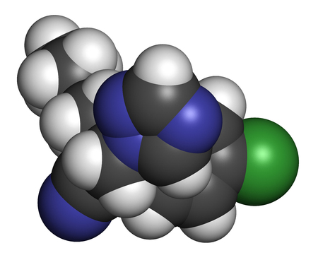 fungicide: Myclobutanil antifungal molecule (triazole class). 3D rendering. Atoms are represented as spheres with conventional color coding: hydrogen (white), carbon (grey), nitrogen (blue), chlorine (green).