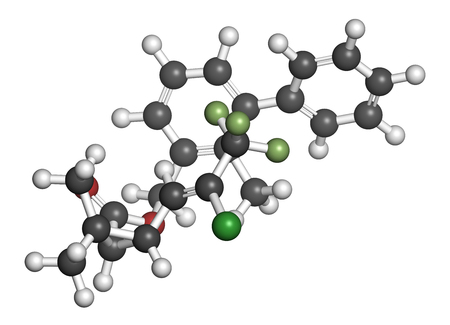 fluorine: Bifenthrin insecticide molecule (pyrethroid class). 3D rendering. Atoms are represented as spheres with conventional color coding: hydrogen (white), carbon (grey), oxygen (red), chlorine (green), fluorine (light green).