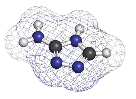 3d nitrogen: Amitrol (3-Amino-1,2,4-triazole, 3-AT) herbicide molecule. 3D rendering. Atoms are represented as spheres with conventional color coding: hydrogen (white), carbon (grey), nitrogen (blue).