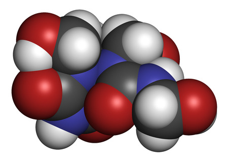 urea: Diazolidinyl urea antimicrobial preservative molecule (formaldehyde releaser). 3D rendering. Atoms are represented as spheres with conventional color coding: hydrogen (white), carbon (grey), oxygen (red), nitrogen (blue). Stock Photo