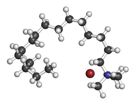 3d nitrogen: Cetrimonium bromide antiseptic surfactant molecule. 3D rendering. Atoms are represented as spheres with conventional color coding: hydrogen (white), carbon (grey), nitrogen (blue), bromine (brown).