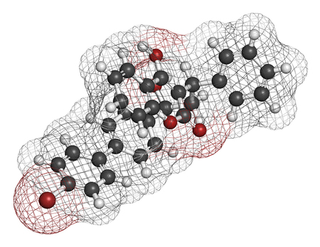 anticoagulant: Bromadiolone rodenticide molecule (vitamin K antagonist). 3D rendering. Atoms are represented as spheres with conventional color coding: hydrogen (white), carbon (grey), oxygen (red), bromine (brown).