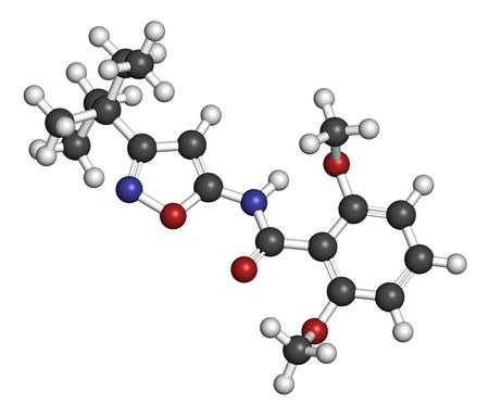 HIDROGENO: molécula herbicida Isoxabeno. representación 3D. Los átomos se representan como esferas con codificación de colores convencionales: hidrógeno (blanco), carbono (gris), nitrógeno (azul), oxígeno (rojo).
