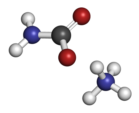 ammonium: Ammonium carbamate, chemical structure. 3D rendering. Atoms are represented as spheres with conventional color coding: hydrogen (white), carbon (grey), oxygen (red), nitrogen (blue).