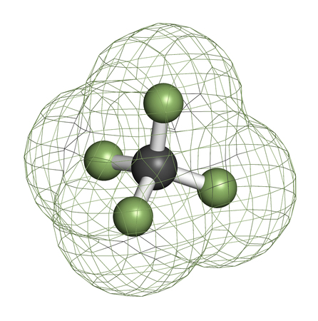 fluorine: Tetrafluoromethane (carbon tetrafluoride, CF4) greenhouse gas molecule. 3D rendering. Atoms are represented as spheres with conventional color coding: carbon (grey), fluorine (light green). Stock Photo