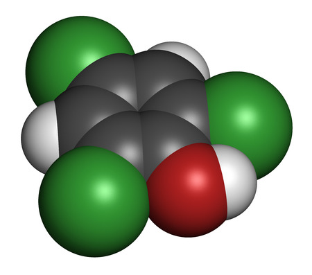 tcp: Trichlorophenol (TCP, 2,4,6-trichlorophenol) molecule. 3D rendering. Atoms are represented as spheres with conventional color coding: hydrogen (white), carbon (grey), oxygen (red), chlorine (green).