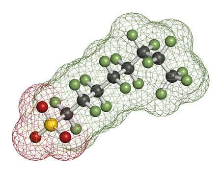 ye: Perfluorooctanesulfonic acid (perfluorooctane sulfonate, PFOS) persistent organic pollutant molecule. 3D rendering. Atoms are represented as spheres with conventional color coding: hydrogen (white), carbon (grey), nitrogen (blue), oxygen (red), sulfur (ye