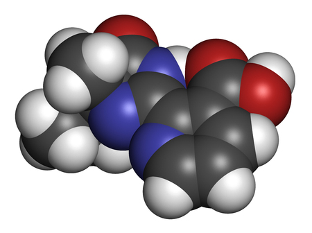 3d nitrogen: Imazapyr herbicide molecule. 3D rendering. Atoms are represented as spheres with conventional color coding: hydrogen (white), carbon (grey), nitrogen (blue), oxygen (red). Stock Photo