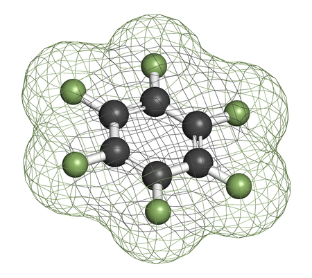 fluorine: Hexafluorobenzene molecule. 3D rendering. Atoms are represented as spheres with conventional color coding: hydrogen (white), carbon (grey), fluorine (light green). Stock Photo
