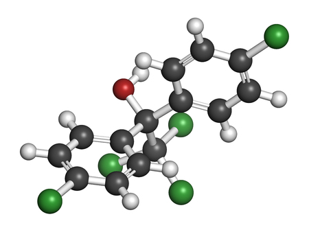 3d carbon: Dicofol organochlorine pesticide molecule. 3D rendering. Atoms are represented as spheres with conventional color coding: hydrogen (white), carbon (grey), oxygen (red), chlorine (green). Stock Photo