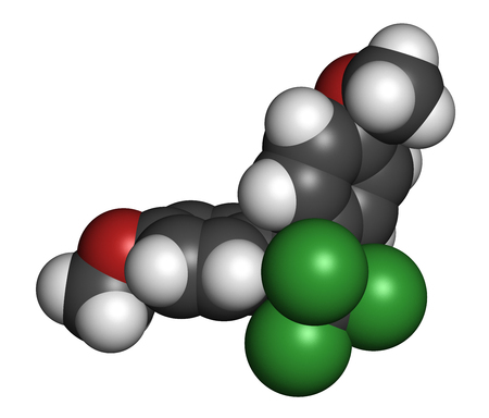 disrupting: Methoxychlor pesticide molecule. 3D rendering. Atoms are represented as spheres with conventional color coding: hydrogen (white), carbon (grey), oxygen (red), chlorine (green).