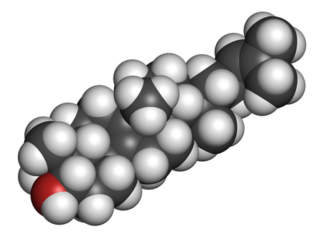 investigated: Lanosterol molecule. Investigated for treatment of cataract. 3D rendering. Atoms are represented as spheres with conventional color coding: hydrogen (white), carbon (grey), oxygen (red).