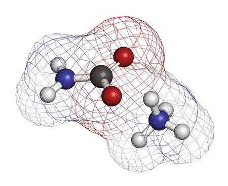 amoniaco: carbamato de amonio, la estructura química. representación 3D. Los átomos se representan como esferas con codificación de colores convencionales: hidrógeno (blanco), carbono (gris), oxígeno (rojo), nitrógeno (azul).