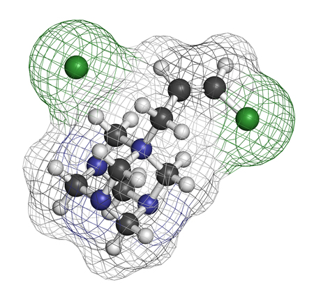 3d carbon: Quaternium-15 surfactant and preservative molecule (formaldehyde releaser). 3D rendering. Atoms are represented as spheres with conventional color coding: hydrogen (white), carbon (grey), nitrogen (blue), chlorine (green). Stock Photo