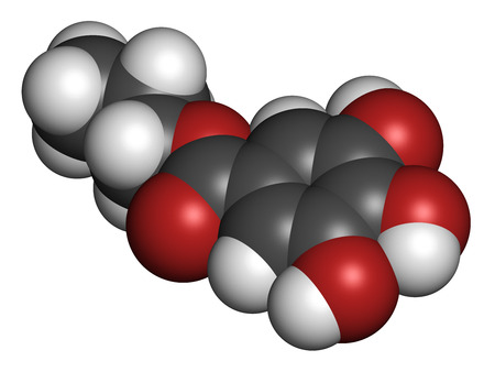 disrupting: Propyl gallate antioxidant food additive molecule. 3D rendering. Atoms are represented as spheres with conventional color coding: hydrogen (white), carbon (grey), oxygen (red).