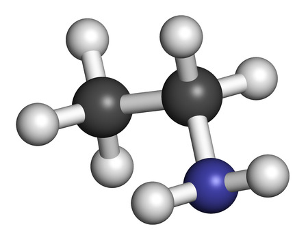 amoniaco: Ethylamine organic base molecule. 3D rendering. Atoms are represented as spheres with conventional color coding: hydrogen (white), carbon (grey), nitrogen (blue). Foto de archivo