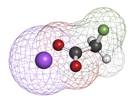 vegetable carbon: Sodium fluoroacetate pesticide (1080), chemical structure. 3D rendering. Atoms are represented as spheres with conventional color coding: hydrogen (white), carbon (grey), oxygen (red), fluorine (light green), sodium (purple).