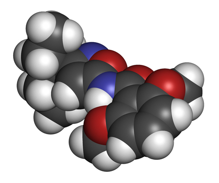 broadleaf: Isoxaben herbicide molecule. 3D rendering. Atoms are represented as spheres with conventional color coding: hydrogen (white), carbon (grey), nitrogen (blue), oxygen (red).