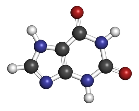 purine: Xanthine purine base molecule. 3D rendering. Atoms are represented as spheres with conventional color coding: hydrogen (white), carbon (grey), nitrogen (blue), oxygen (red). Stock Photo