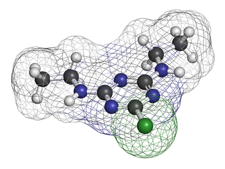 3d nitrogen: Simazine herbicide molecule. 3D rendering. Atoms are represented as spheres with conventional color coding: hydrogen (white), carbon (grey), chlorine (green), nitrogen (blue). Stock Photo