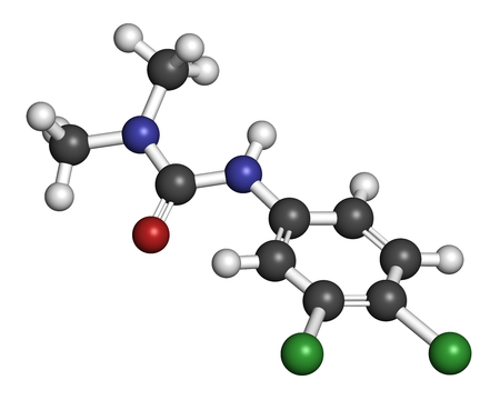 3d nitrogen: Diuron (DCMU) herbicide molecule. 3D rendering. Atoms are represented as spheres with conventional color coding: hydrogen (white), carbon (grey), nitrogen (blue), oxygen (red), chlorine (green).