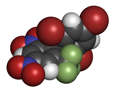 fluorine: Bromethalin rodenticide molecule (rat poison). 3D rendering. Atoms are represented as spheres with conventional color coding: hydrogen (white), carbon (grey), nitrogen (blue), oxygen (red), bromine (brown), fluorine (light green).