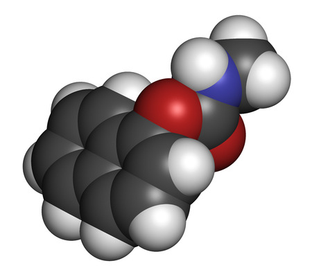 3d nitrogen: Carbaryl (carbaril) insecticide molecule (carbamate class). 3D rendering. Atoms are represented as spheres with conventional color coding: hydrogen (white), carbon (grey), oxygen (red), nitrogen (blue).