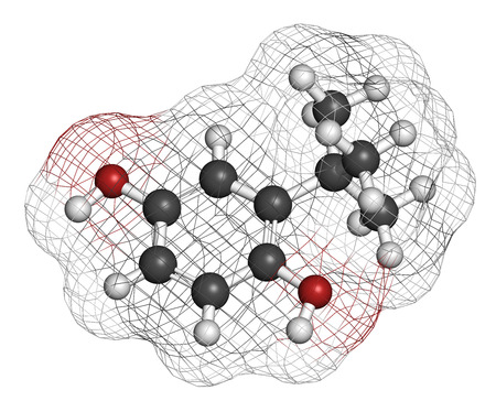 preservative: TBHQ (tert-Butylhydroquinone) antioxidant preservative molecule. 3D rendering. Atoms are represented as spheres with conventional color coding: hydrogen (white), carbon (grey), oxygen (red).