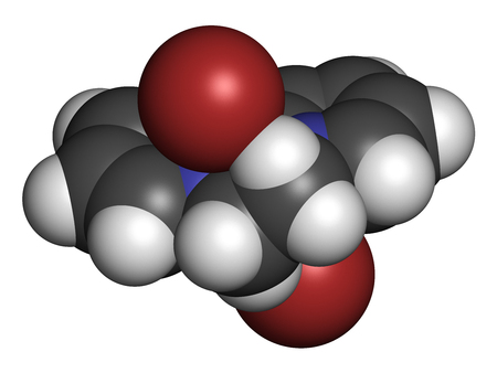 3d nitrogen: Diquat dibromide contact herbicide molecule 3D rendering. Atoms are represented as spheres with conventional color coding: hydrogen (white), carbon (grey), nitrogen (blue), bromine (brown).