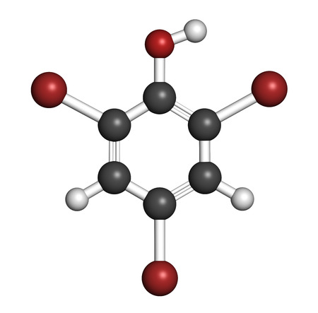 preservative: Tribromophenol (TBP, 2,4,6-Tribromophenol) molecule. Used as fungicide and wood preservative; 3D rendering. Atoms are represented as spheres with conventional color coding: hydrogen (white), carbon (grey), oxygen (red), bromine (brown). Stock Photo