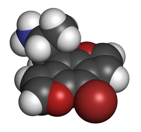 3d nitrogen: Bromo-dragonFLY hallucinogenic drug molecule. 3D rendering. Atoms are represented as spheres with conventional color coding: hydrogen (white), carbon (grey), nitrogen (blue), oxygen (red), bromine (brown). Stock Photo