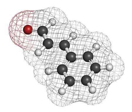 3d carbon: Cinnamaldehyde (cinnamic aldehyde) cinnamon flavor molecule. 3D rendering. Atoms are represented as spheres with conventional color coding: hydrogen (white), carbon (grey), oxygen (red). Stock Photo
