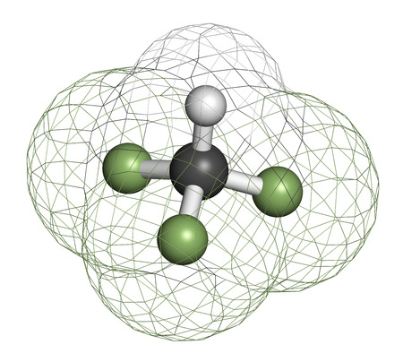 fluorine: Fluoroform greenhouse gas molecule. 3D rendering. Atoms are represented as spheres with conventional color coding: hydrogen (white), carbon (grey), fluorine (light green).