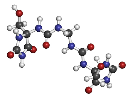 preservative: Imidazolidinyl urea antimicrobial preservative molecule (formaldehyde releaser). 3D rendering. Atoms are represented as spheres with conventional color coding: hydrogen (white), carbon (grey), oxygen (red), nitrogen (blue).