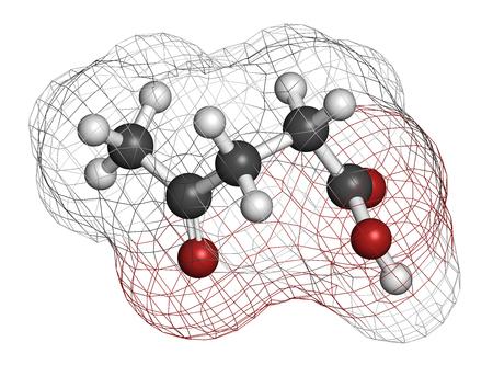 celulosa: molécula de ácido levulínico. Hecho por la degradación de la celulosa, precursor potencial de los biocombustibles. representación 3D. Los átomos se representan como esferas con codificación de colores convencionales: hidrógeno (blanco), carbono (gris), oxígeno (rojo).
