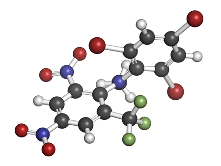 3d nitrogen: Bromethalin rodenticide molecule (rat poison). 3D rendering. Atoms are represented as spheres with conventional color coding: hydrogen (white), carbon (grey), nitrogen (blue), oxygen (red), bromine (brown), fluorine (light green).