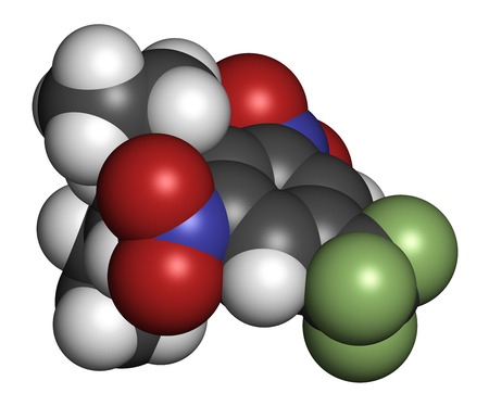 3d nitrogen: Benfluralin herbicide molecule. 3D rendering. Atoms are represented as spheres with conventional color coding: hydrogen (white), carbon (grey), oxygen (red), nitrogen (blue), fluorine (light green). Stock Photo